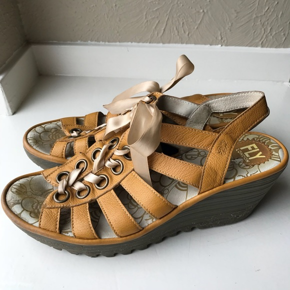 Wedge London Sandals Fly Sz Yellow 41 Gladiator FKTcl1J
